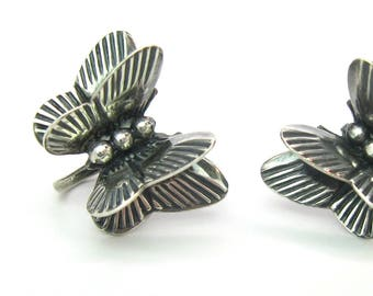 Navajo Butterfly Earrings. Handmade Engraved 3D Sterling Silver Screw Backs Small Double Winged Insect Vintage 1950s Native American Jewelry
