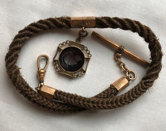Victorian Braided Hair Gold Pocket Watch Chain With Black Silhouette Fob