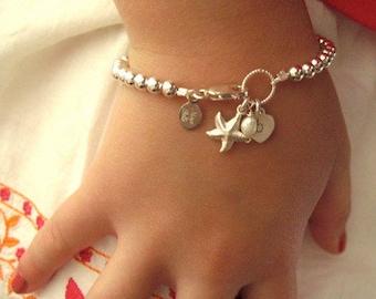 Beach girl, silver ball bracelet, starfish initial bracelet, flower girls, beach wedding