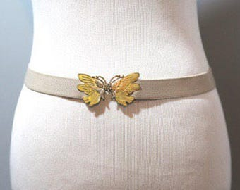 Vintage Butterfly Belt Brass Yellow Enamel Tan Elastic Womens Size XS S 80s 70s
