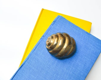 Vintage Solid Brass Shell Paperweight