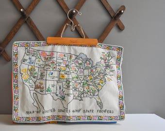 Vintage Crewel Embroidered US State Flowers Map Sampler