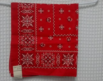vintage Red Bandana Trunk Down made in USA New Old Stock with tags fast color handkerchief scarf 23x21