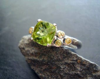 Genuine Peridot Checkerboard Faceted Cushion Cut & Yellow Sapphires 925 Sterling Silver Ring August Birthstone Gift For Her 16th Anniversary
