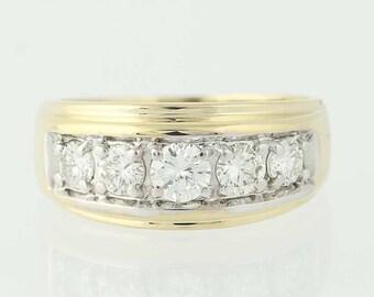Men's Diamond Ring - 14k Yellow Gold Five-Stone Round Cut 1.00ctw U0147