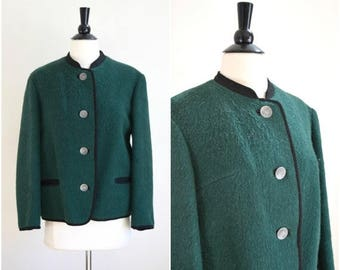 Summer Sale Vintage Austrian wool jacket / H. Moser & Sohne OHG green coat with silver coin buttons / boiled wool ski jacket