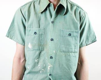 Green Paint Covered Button Down