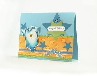 Newborn Baby Boy Card - Congratulations - Baby Boy - Baby Neutral Card - Its A Boy - Card For New Dad - Blue - Card For New Mom - Star