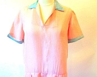 1/2 Off SALE Vintage 20s Pink Frock, 1920 Semi Sheer Drop Waist Jazz Age Dress