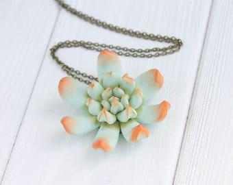 Pale Green Orange Succulent Necklace Pendant Polymer Plant Jewelry Succulent Wedding Bride Birthday Gift