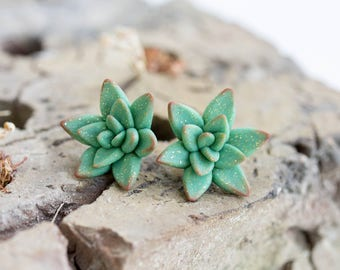 Green Gold Succulent Stud Earrings Small Hypoallergenic Studs Weddings Bridal Bridesmaid Birthday Women Accessory Wedding Christmas Gifts