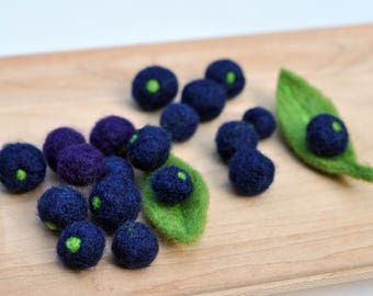 Needle Felted Wild Blueberries - set of 20 Play Food Set, Needle Felted, Felted Food Toy, Waldorf Toy,Birthday gift, home decoration