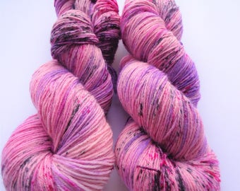 Fine Merino Socks hand dyed yarn hand painted sock yarn speckled: Speckle up your life pink