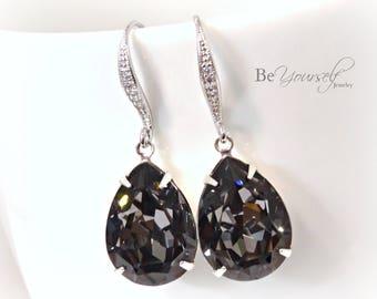 Dark Gray Bridal Earrings Charcoal Teardrop Bride Earring Swarovski Crystal Silver Night Wedding Jewelry Bridesmaid Gift Grey Black Earrings