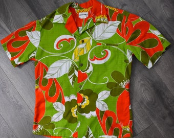 1970s Liberty House Hawaiian Shirt Green Orange Barkcloth Tropical Luau Mens Vintage Medium