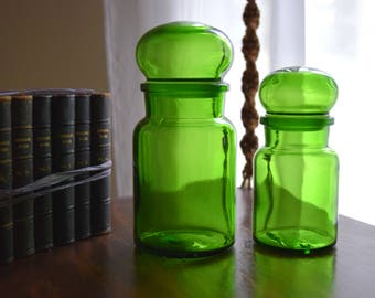 Two Emerald Green Vintage Apothecary Jars ~ Modern, Boho, Kitchen Witch, Simple