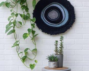 Large Woven Wall Art   Round Woven Wall Hanging   Boho Circular Wall Art with Dramatic Black Fringe