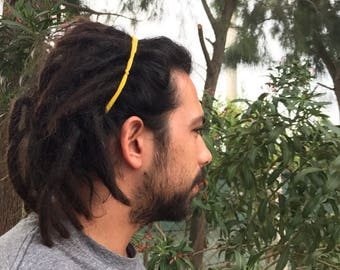 Man headband, yellow dreadlock headband, headband for him, hair accessory for him, beach headband, husband, boyfriend gift, men hair band
