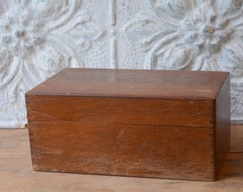1960's Solid Oak File Box By Wayne Novelty Co, Recipe Box, Vintage Recipe Box
