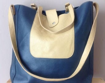 Navy leather tote Bag- Navy & Beige leather Bag- Large Navy blue tote- Handamde Ethiopian Leather Travel Bag- leather Market Bag- Navy Gift