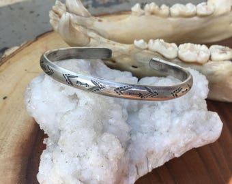 Men's Stamped Silver Cuff Bracelet