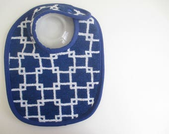 EcoBib--Adjustable Snap Closure--Modern Woven Squares in White on Dark Blue--Ready to Ship