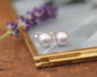 Grey 8mm Ocean Drop Pearl Earrings