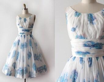 vintage 1950s dress // 50s blue rose prom dress