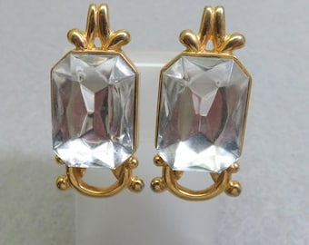 BIG 1980s White Rhinestone Clip On Earrings, Vintage,