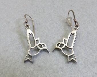 Sterling Hummingbird Pierced Earrings, Vintage Earrings, Open Design