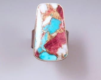Kingman Turquoise and Purple Oyster- Rainbow Patina- Metal Art Statement Ring by RedPaw