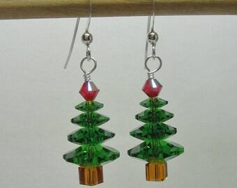 Christmas Tree Earrings, Medium Green Sparkly, Crystal Tree Earrings, Swarovski Tree Earrings