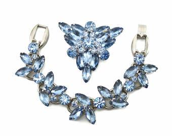 Vintage D&E Juliana Blue 5 Link Rhinestone Bracelet Brooch Demi-Parure CONFIRMED!