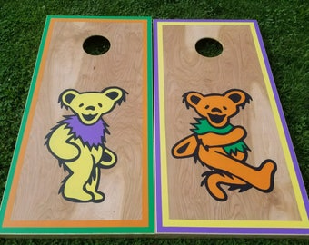 Grateful Dead Bears Custom Cornhole Boards with a Set of Bags - Handpainted Art