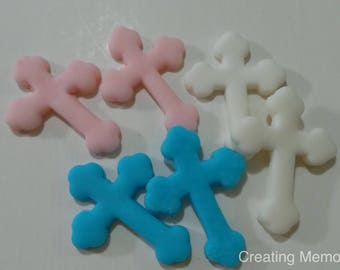 Crosses for Cupcake Toppers 24 Crosses made of Delicious Vanilla Fondant you choose the colors/ Fist communion, Christening