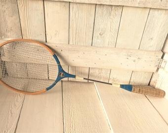 Vintage badminton racket racquet wooden mid century- free shipping US