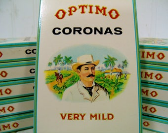 Cigar Boxes Collection of 11 Optimo Coronas Small Pocket Size Cigar Boxes Full Color Graphics - Boxes for Arts, Display, Projects & Storage
