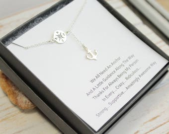 Sterling Silver Compass and Drop Anchor Necklace with Friendship Sentiment Card