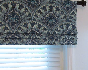 Blue Faux Roman Shade Lined  Valance Tommy Bahama Crescent Beach Riptide Custom Sizing Available!