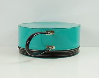Aqua vintage round suitcase / Round suitcase luggage / Carry on suitcase / Vintage small suitcase / Mid Century 50s