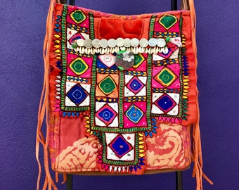 One of a kind unusual rare ethnic boho chic tribal  Banjara orange and pink embroidered shoulder bag with vintage finge suede 70's belt belt