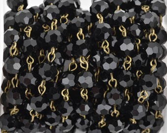 1 yard Black Crystal Rosary Chain, bronze, 8mm round faceted crystal beads, fch0670a