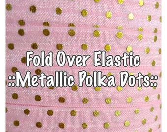 Fold Over Elastic - Metallic Polka Dot, hair bow making and accessories