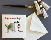 Birthday card, Lemur card, occasion card, watercolour print, greetings card