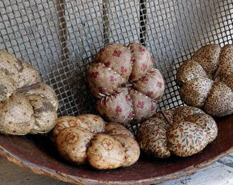 Primitive Cream Pumpkin Bowl Fillers, Fabric Gourds, Fall Harvest Decor