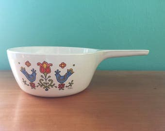 Vintage 1976 Mid Century Modern Corningware Blue Bird Saucepan