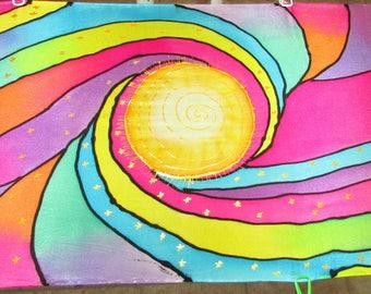 pastel rainbow silk scarf, spiritual gift, bohemian, spiritual gift, yoga scarf,meditation, prayer shawl, chakra scarf, prayer scarf,reiki