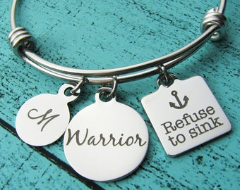 warrior bracelet, inspirational gift, refuse to sink, cancer awareness gift, sober addiction recovery, mental health, empowerment jewelry