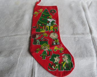 Vintage 60s Charlie Brown Christmas Stocking Peanuts Characters Red Cotton