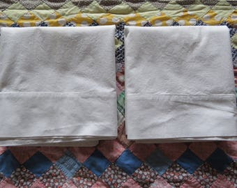 Pair Vintage White Cotton Pillowcases Solid Plain Ready To Embroider